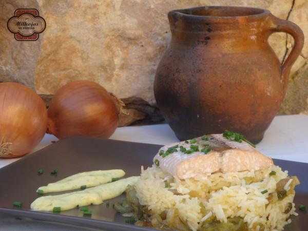 Arroz con salmón y base de verduras 1