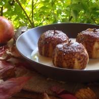Manzanas asadas con natillas