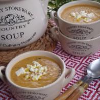 Sopa de tomates y calabacines asados