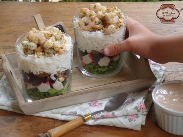 Ensalada de cóctel de gambas con arroz 1