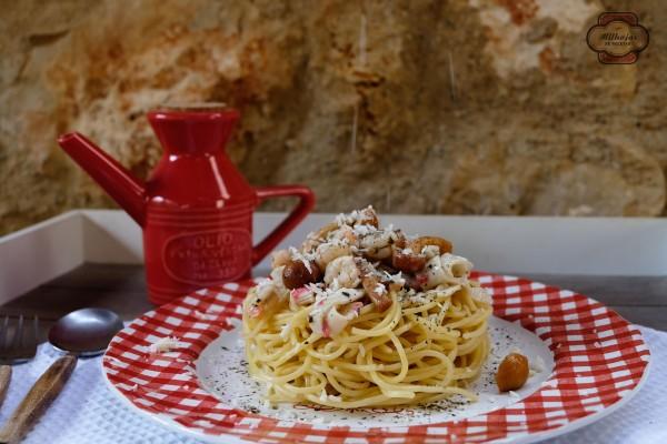 Espaguetis gambas y setas 1